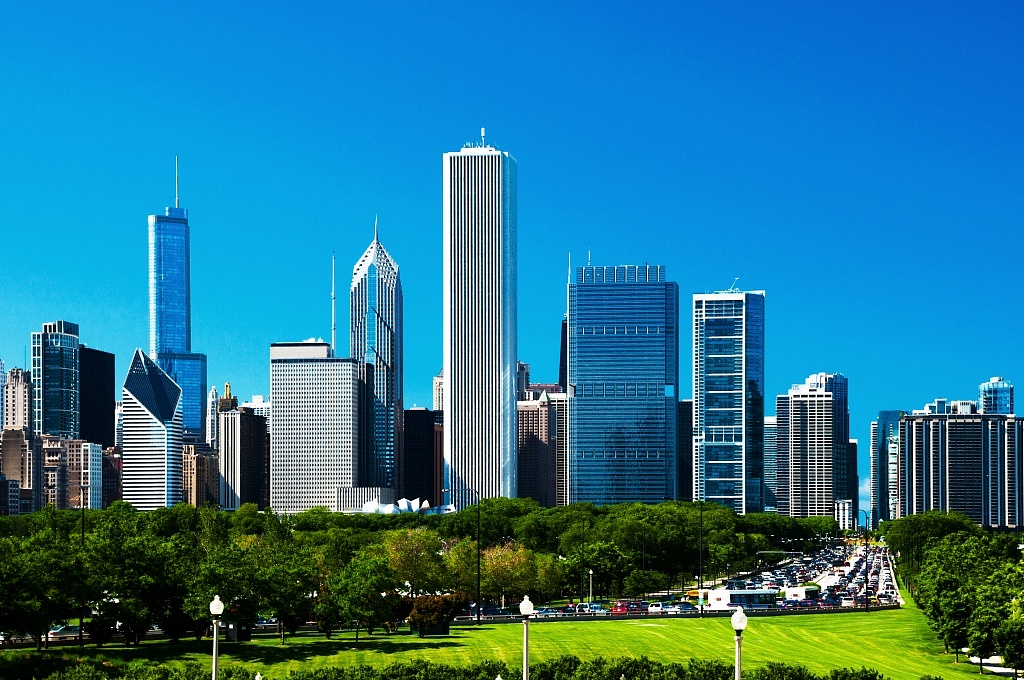 Chicago downtown skyline, Grant Park, and traffic jam