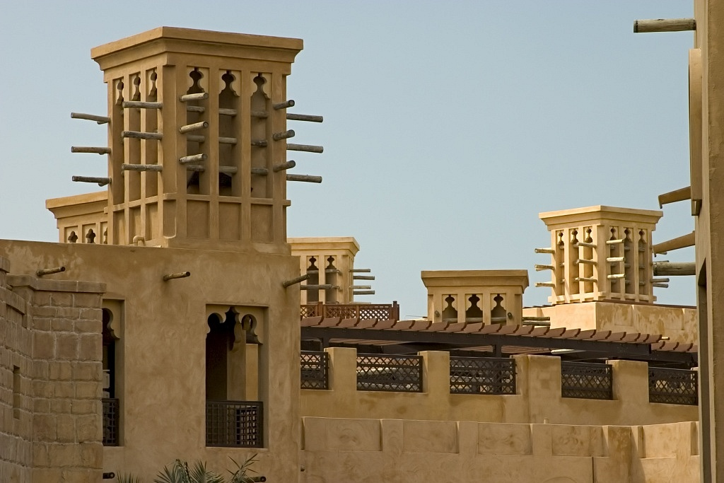 Wind towers like those used by the ancient Persians